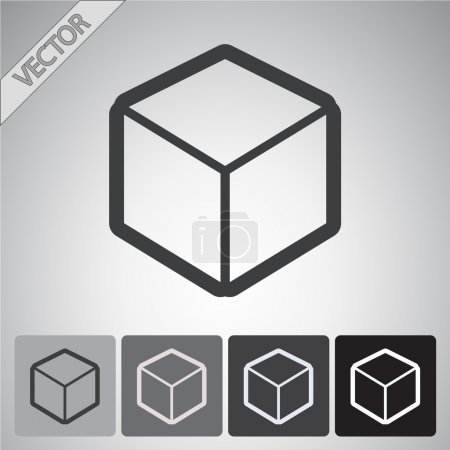3d cube logo design icon, vector illustration. Fla...