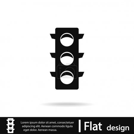 Traffic lights icon, vector illustration. Flat des...