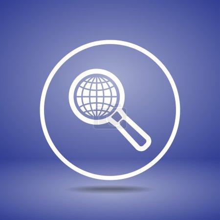 Illustration pour Terre avec icône de recherche de loupe, illustration vectorielle. Style design plat - image libre de droit