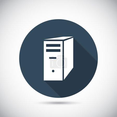 Illustration pour Icône serveur informatique, illustration vectorielle. Style design plat - image libre de droit