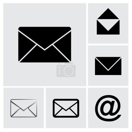 Illustration pour Enveloppe Ensemble d'icônes Mail, illustration vectorielle. Style design plat - image libre de droit