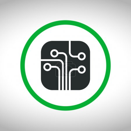 Illustration for Circuit board, technology icon, vector illustration. Flat design style - Royalty Free Image