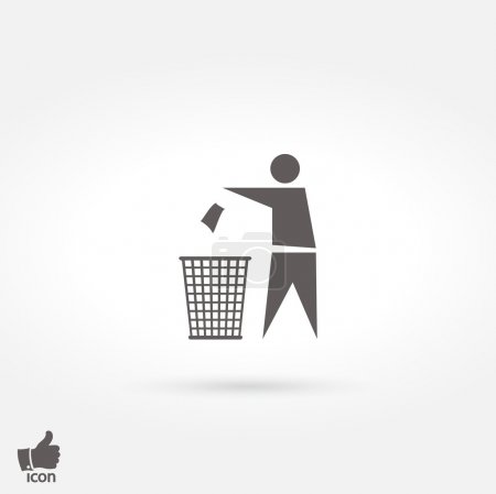Illustration for Trash bin icon, vector illustration. Flat design style - Royalty Free Image