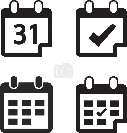 Illustration for Calendar icon set, vector illustration. Flat design style - Royalty Free Image