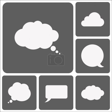 Illustration for Speech bubble icon set, flat design - Royalty Free Image