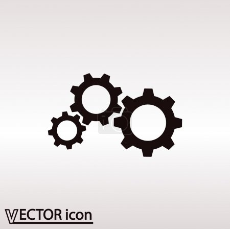 Illustration for Gear icon illustration. Flat design style - Royalty Free Image