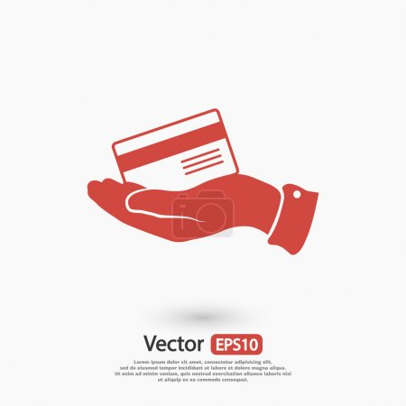Bank credit card with hand