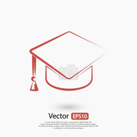 Illustration for Graduation cap icon, vector illustration. Flat design style - Royalty Free Image
