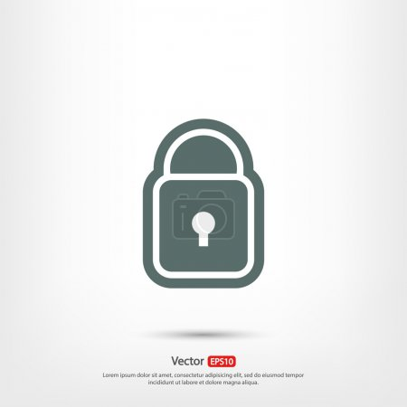 Lock  icon,  Flat design style