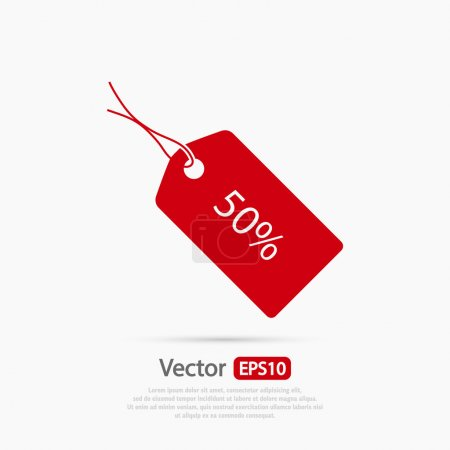 Illustration for 50 percent's tag icon, vector illustration. Flat design style - Royalty Free Image