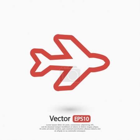Illustration for Airplane symbol, flat design illustration - Royalty Free Image