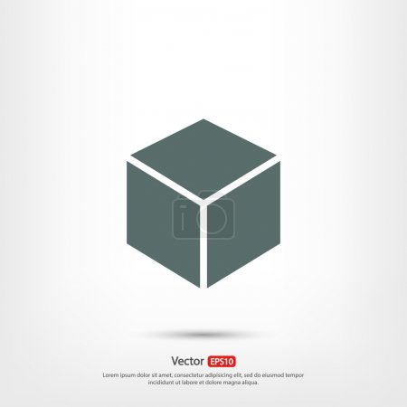 Illustration for 3d cube logo design icon, vector illustration. Flat design style - Royalty Free Image