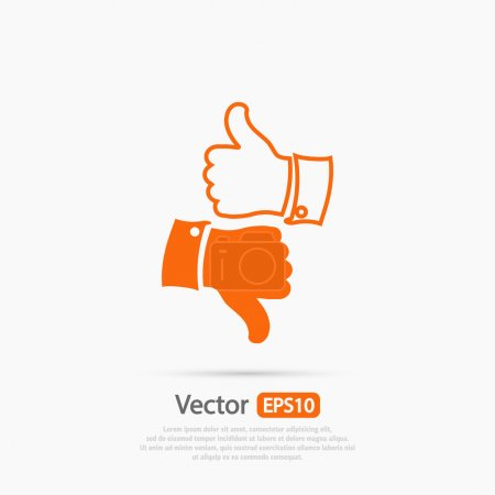 Illustration for Thumb up and down icons, vector illustration. Flat design style - Royalty Free Image
