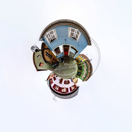Funny street view of little french village. Curvature of space,