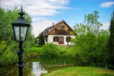 Countryside house with small lake in Poland