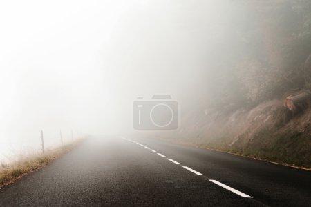 Danger foggy road in the forest, autumnal landscap...