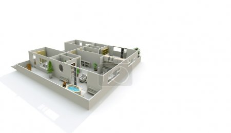 3d interior rendering perspective view of home apartment