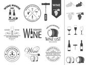 Vector wine labels and icons set