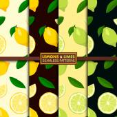 Vector set of seamless patterns with lemons and limes