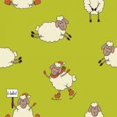 Funny new year seamless pattern with cute lambs at the green background