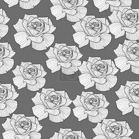 Illustration for Vintage black and white seamless rose background. Vector illustration. - Royalty Free Image