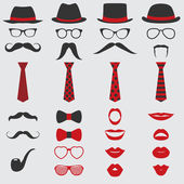 Retro Party set - Glasses hats lips mustaches ties and pipe - for design photo booth scrapbook in vector