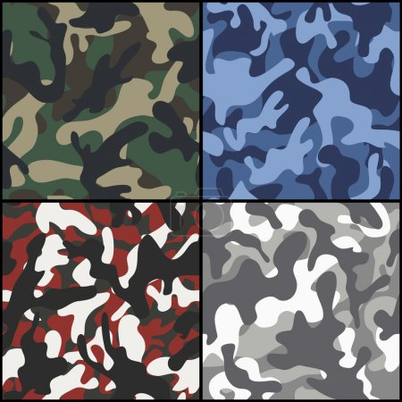 Illustration for Set of four seamless camouflage fabric patterns. Vector illustration. - Royalty Free Image