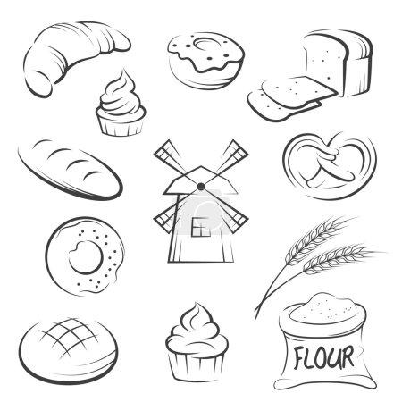 Illustration pour Ensemble d'icônes de boulangerie dessin à la main. Illustration vectorielle . - image libre de droit