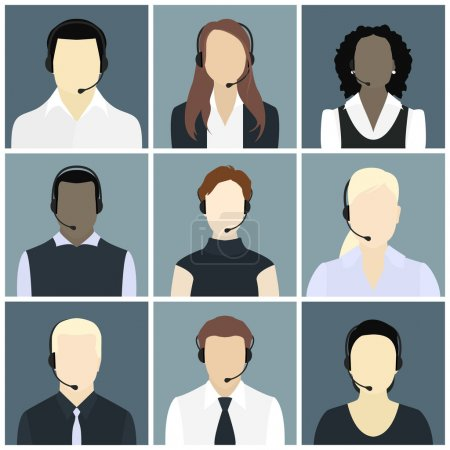Vector icons set call center avatars in a flat style