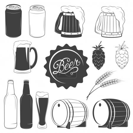 Illustration for Vector beer monochrome icons set - can of beer, beer mug, beer glass, hops, wheat, beer bottle, barrel - Royalty Free Image