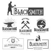 Set of vintage monochrome blacksmith labels and design elements Vector illustration