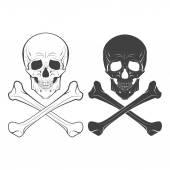 Skull and bones hand drawn vector illustration