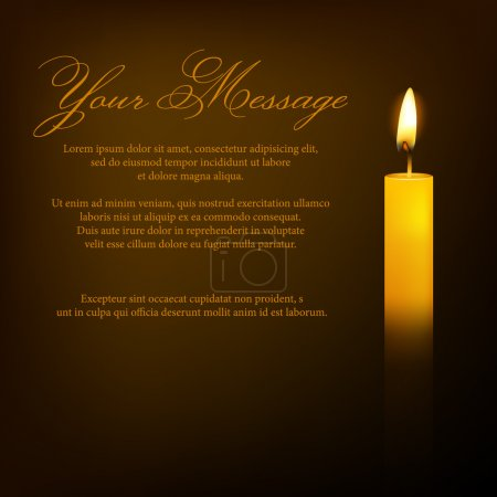 Illustration for Vector funeral card with candle and place for text. EPS10 illustration. - Royalty Free Image