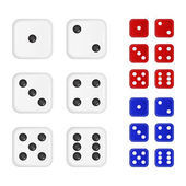 Set of dices in three colors - white red blue