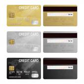 Set of realistic silver gold and black vector credit card two sides