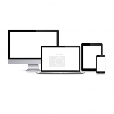 Illustration for Set of modern monitor, computer, laptop, phone, tablet on a white background with reflection. Vector EPS10 illustration - Royalty Free Image