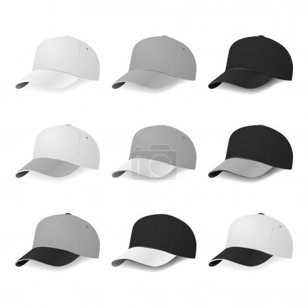 Two-color baseball caps in half-turn with white, gray and black colors.