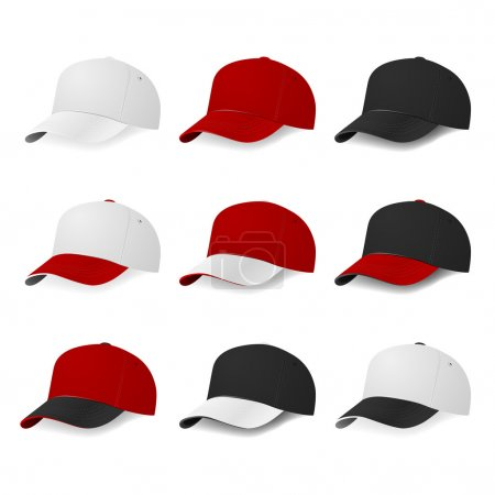 Illustration for Set of nine two-color baseball caps with white, red and black colors isolated on white background. Vector EPS10 illustration. - Royalty Free Image