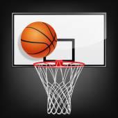Basketball backboard and ball