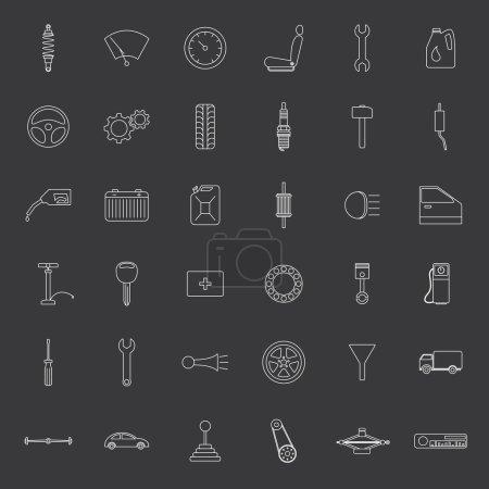 Vector car parts. Icons set.