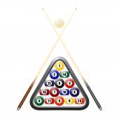 Billiards balls triangle and two cues