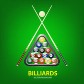Vector background with billiards balls triangle and two cues