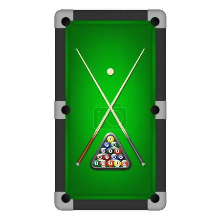Billiards balls, triangle and two cues on a pool t...
