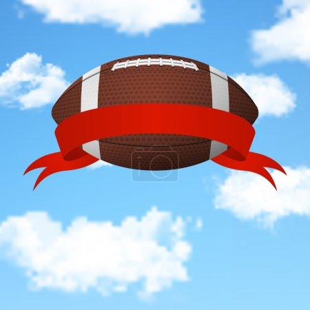 Realistic 3d american football ball with red ribbo...