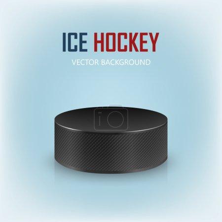Illustration pour Rondelle de hockey réaliste noire sur patinoire - arrière-plan vectoriel EPS10 . - image libre de droit