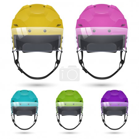 Ice hockey helmets with visor, isolated.