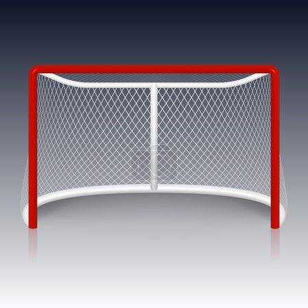 Red hockey goal, net.
