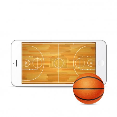 Vector smartphone with basketball ball and court on the screen.