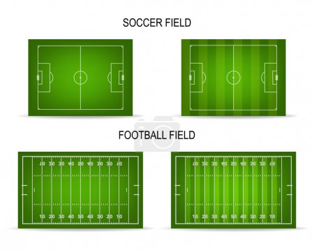 Vector soccer and football fields set