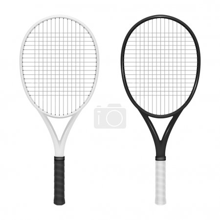 Two vector tennis rackets - white abd black